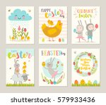 set of easter greeting card...