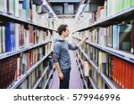 student in the library of... | Shutterstock . vector #579946996