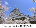 aizuwakamatsu castle and cherry ... | Shutterstock . vector #579950656