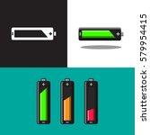 icon set of batteries. flat... | Shutterstock .eps vector #579954415