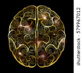 vector of human brain with gold ... | Shutterstock .eps vector #579967012