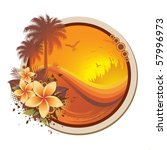 floral tropical frame | Shutterstock .eps vector #57996973