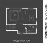 architectural plan with...   Shutterstock .eps vector #579972886