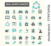 real estate icons  | Shutterstock .eps vector #579976906