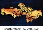 god and adams hands holding a... | Shutterstock .eps vector #579983662