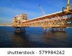 offshore construction platform... | Shutterstock . vector #579984262