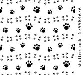 paw print seamless pattern... | Shutterstock .eps vector #579984676