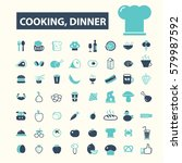 cooking dinner icons  | Shutterstock .eps vector #579987592