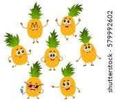 set of cute and funny pineapple ... | Shutterstock .eps vector #579992602