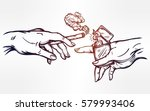 god and adams hands holding a... | Shutterstock .eps vector #579993406