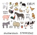 farm animals color set | Shutterstock .eps vector #579993562