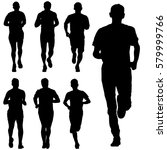 set of silhouettes runners on... | Shutterstock .eps vector #579999766
