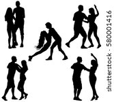 black set silhouettes dancing... | Shutterstock .eps vector #580001416
