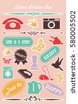 vintage stickers set. vector... | Shutterstock .eps vector #580005502