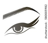 illustration with woman's eye... | Shutterstock .eps vector #580005982