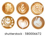 coffee latte art cappuccino... | Shutterstock . vector #580006672