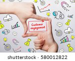 Small photo of Technology, internet, business and marketing. Young business woman writing word: Customer engagement