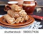 Stuffed Pancakes On Pottery ...