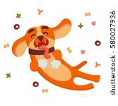 cute funny dog is jumping and... | Shutterstock .eps vector #580027936