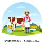 farmer near cow and bottles of... | Shutterstock .eps vector #580032262