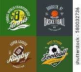 set of basketball and tennis ... | Shutterstock .eps vector #580032736