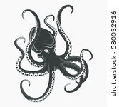 cartoon octopus with tentacles... | Shutterstock .eps vector #580032916