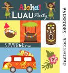 luau party invitation card | Shutterstock .eps vector #580038196