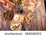 italian antipasti wine snacks... | Shutterstock . vector #580038592