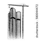 building skyscraper  sketch.... | Shutterstock .eps vector #580044472