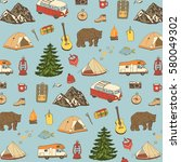 camping objects  trip doodle... | Shutterstock .eps vector #580049302