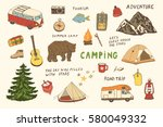 camping objects  trip doodle... | Shutterstock .eps vector #580049332