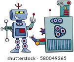 cartoon illustration of robots... | Shutterstock .eps vector #580049365