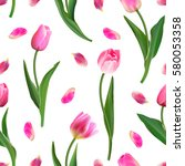 realistic pink tulips and petal ... | Shutterstock .eps vector #580053358