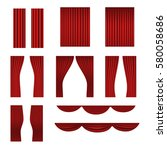 different stage red curtains... | Shutterstock .eps vector #580058686
