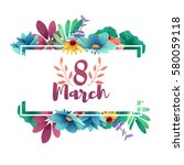 Stock vector banner for the international women s day flyer for march with the decor of flowers invitations 580059118