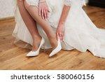 bride dresses elegant beige...   Shutterstock . vector #580060156