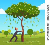 businessman shaking tall cash... | Shutterstock .eps vector #580064206