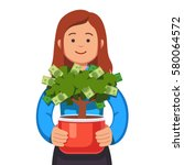 young business woman holding... | Shutterstock .eps vector #580064572