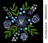 embroidery with violets  forget ... | Shutterstock .eps vector #580066402
