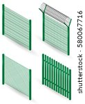 set of metal fences  borders... | Shutterstock .eps vector #580067716