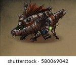 steampunk art zeppelin | Shutterstock . vector #580069042