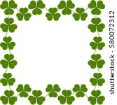 frame made of shamrocks | Shutterstock .eps vector #580072312
