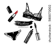 fashion set  make up products... | Shutterstock .eps vector #580073002