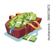 big fat opened leather bag full ... | Shutterstock .eps vector #580073872
