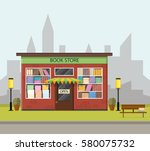 vintage bookstore. the city's... | Shutterstock .eps vector #580075732