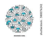 insurance service outline icons ... | Shutterstock .eps vector #580076242
