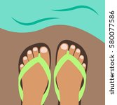 cool feet of woman with a nice  ... | Shutterstock .eps vector #580077586