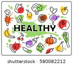 healthy food vegetables and... | Shutterstock . vector #580082212
