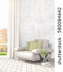 modern bright interior . 3d... | Shutterstock . vector #580084642