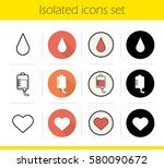blood donation icons set. flat... | Shutterstock . vector #580090672